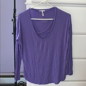 PINK Purple V-Neck Crossed Long Sleeve Top